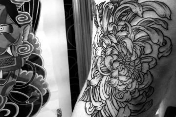 Subliquida Meatshop Tattoo Barcelona 2020 chrysanthemum japanese